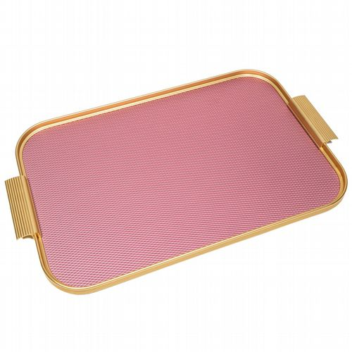 Kaymet Tray - Diamond Ribbed - Pink & Gold